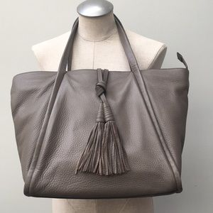 Vince Camuto Olive Grey Leather Taro Tassel Tote